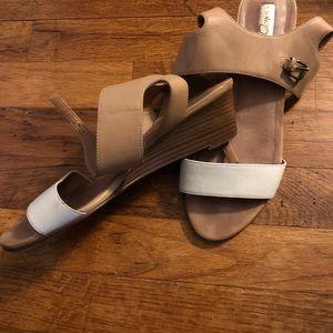 Halogen Leather Wedge Sandals- Size 8